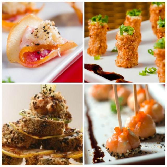 1 - Chips de Aipim com Hadock 2 - Mini Torres de Salmão Crocante 3 - Monte Fuji 4 - Pirulito de Salmão Defumado